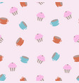 pattern with cups and cupkakes vector image vector image