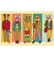 People with animals heads full height figures vector image vector image