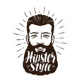 portrait happy bearded man hipster style vector image vector image