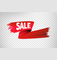 red sale ribbon 3d render abstract brush vector image vector image