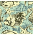 Sea pattern marine life exotic fish background vector image vector image