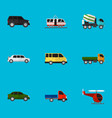 set of 9 editable vehicle flat icons includes vector image