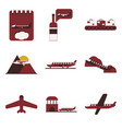 set of icons in flat design for airport on a vector image vector image