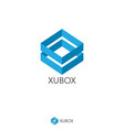 simple dual blue box logo concept double shape vector image vector image