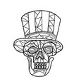 skull uncle sam black and white mosaic vector image vector image