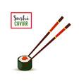 sushi chopsticks - red caviar nori rice vector image vector image