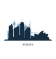 sydney skyline monochrome silhouette vector image vector image