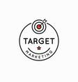 target marketing rounded linear goal logo on white vector image