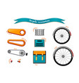 urban family bike accessories flat set urban vector image