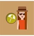 vacation woman umbrella beach summer vector image