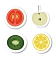vegetable and fruit stickers vector image vector image