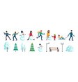 winter city people set vector image vector image