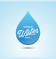 world water day droplet vector image vector image