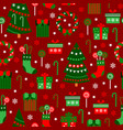 new year red tile pattern merry christmas flat vector image
