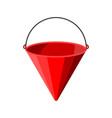 red metal fire bucket fire equipment vector image