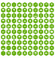 100 clouds icons hexagon green vector image vector image