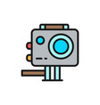 action camera extreme video cam flat color line