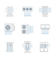 Air climate appliances flat line icons set vector image vector image