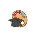 art palette object with cap graduation design vector image vector image