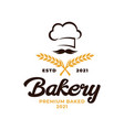 bakery chef logo wheat rice agriculture logo vector image vector image