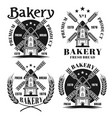 bakery set four emblems with windmill vector image vector image