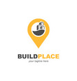 building with pinpoint location symbol logo design vector image
