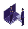 businessmen group teamwork with laptop vector image