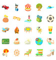 carefree vacation icons set cartoon style vector image vector image