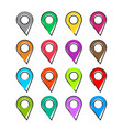 cartoon set pin location icon in comic style vector image vector image