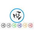 cow care hands rounded icon vector image vector image