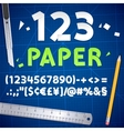 Cut Out Paper Numbers and Equipment Set vector image
