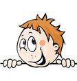 cute child boy peeking out from behind white vector image vector image