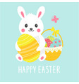 cute easter card with bunny eggs and basket vector image