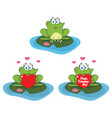 cute frog cartoon character collection set vector image vector image
