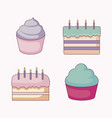 delicious sweet cupcakes and cakes vector image vector image