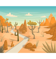 desert landscape with road cactuses mountains vector image vector image