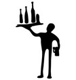 drinks waiter silhouette vector image vector image