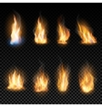 Fire flames on a transparent background vector image vector image