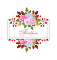 floral rectangle frame with bouquets of flowers vector image