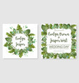 foliage watercolor set template of wedding vector image