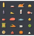 Food Icons Set Meat Fish Vegetables Drinks for vector image vector image