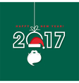 Happy New Year 2017 with Santa Claus hat and beard vector image vector image