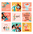 international women s day greeting cards big set vector image