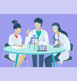 lab research or chemical experiment scientists vector image vector image