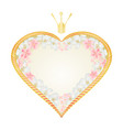 label golden heart with a crown with sakura vector image vector image