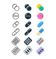 line and silhouette icons of illegal drug tablets vector image vector image