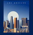 los angeles skyline with big full moon usa vector image