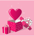 Love gift in box greeting card vector image
