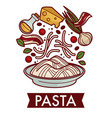 pasta with cheese and bacon culinary recipe vector image vector image