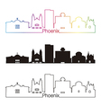 phoenix skyline linear style with rainbow vector image vector image